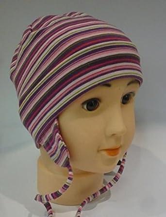 MaxiMo bébé fille 100 % coton léger bonnet rayé avec ruban de maintien 1802306327c