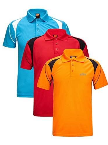 ZITY Athletic Workout T-Shirt for Men Polyester Polo Short Sleeves T-Shirts Red,Blue,Orange Medium