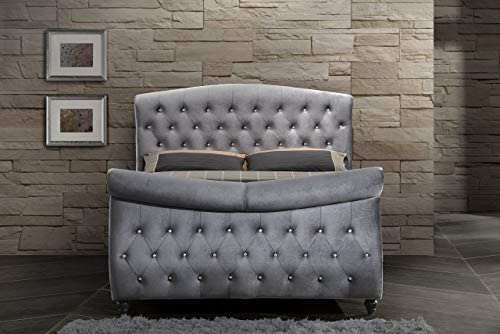 Meridian Furniture Hudson Collection Velvet Upholstered Sleigh Bed