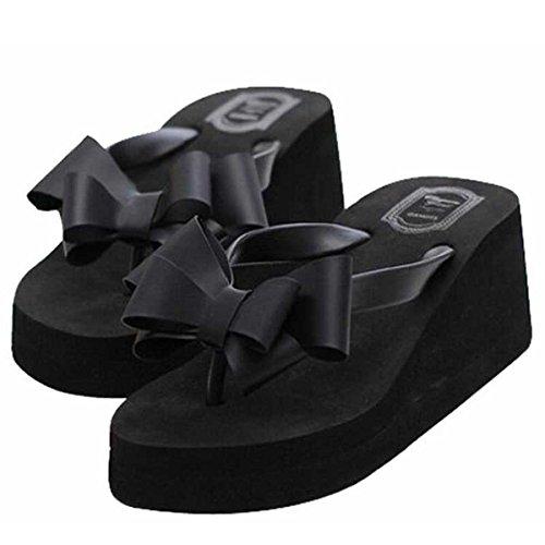 Estimadas Sandalias Time Beautiful Flip Flops Para Mujer Negras