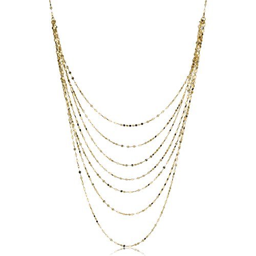 14k Yellow Gold Mirror Link Layered Necklace (18 inch)