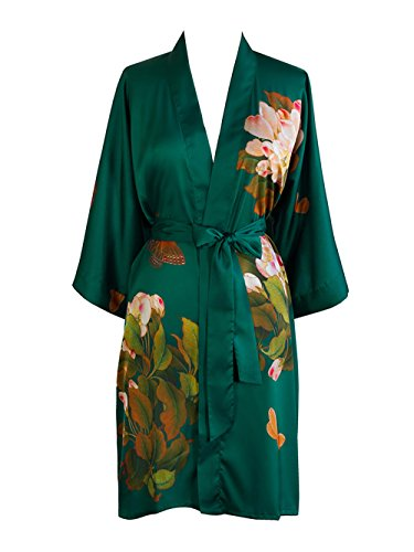 Old Shanghai Women's Kimono Robe Short - Watercolor Floral, Peony & Butterfly- Emerald, One Size.