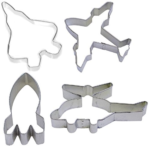 4 Jet Fighter Airplane Helicopter Rocket Cookie Cutters Flying