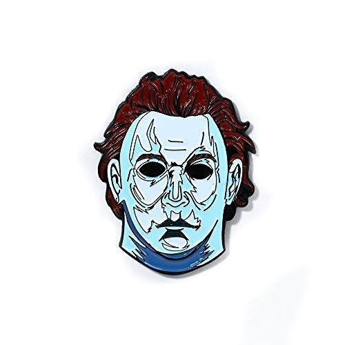 Assorted Horror Movie Collection Trippy Halloween Pendant Lapel Hat Pins (Michael Mask) -