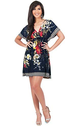 KOH KOH Petite Womens Floral Print Summer Kimono Short Sleeve Sexy Beach Tunic Casual Cover Up Caftan Kaftan Sundress Sundresses Sun Mini Dress Dresses, Dark Navy Blue S 4-6 ()