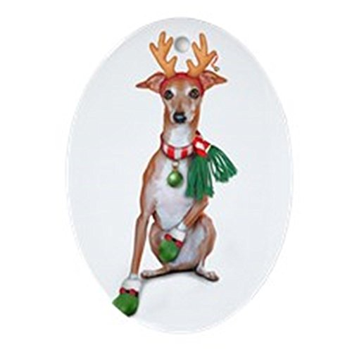 CafePress Italian Greyhound Reindeer Oval Ornament Oval Holiday Christmas Ornament ()