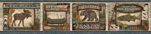 Chesapeake TLL01562B Tugaloo Bear Paw Lodge Wallpaper Border, Blue - Fishing Border