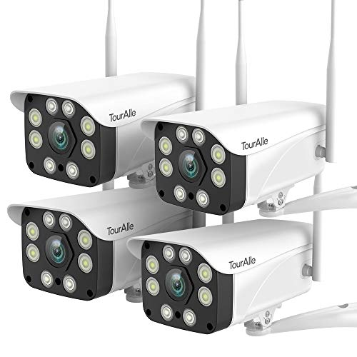 Home Security Camera System(4-Pack) – TourAlle 1080P Outdoor WiFi Camera with Color Night Vision, Motion Detection, 2-Way Audio, Wireless IP66 Waterproof Camera with MicroSD Slot and Cloud Storage