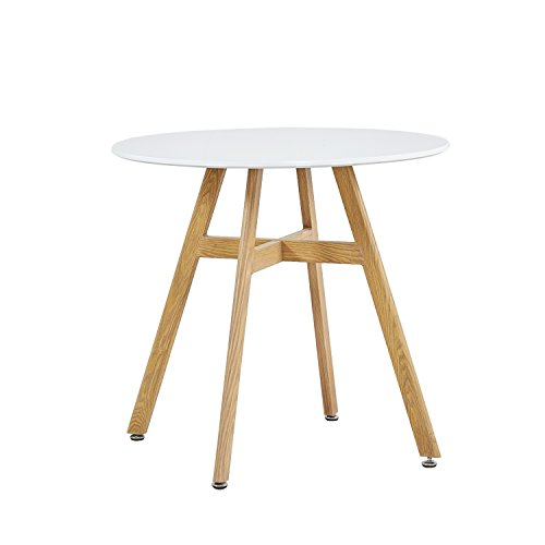 GreenForest Round Dining Table with Oak Finish Legs, Kicthen Room Leisure Coffee Tea Breakfast Table, White (Breakfast Table Room)