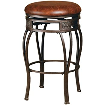 Hillsdale Montello Backless Swivel Counter Stool Old Steel Finish with Brown Faux-Leather  sc 1 st  Amazon.com & Amazon.com: Hillsdale Montello Backless Swivel Counter Stool Old ... islam-shia.org