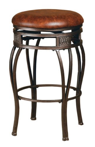 Hillsdale Montello Backless Swivel Counter Stool, Old Steel Finish with Brown Faux-Leather (Bar Hillsdale Stool Round)