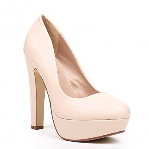 King Of Shoes Klassische Damen Pumps Stilettos High Heels Plateau Abend Schuhe Bequem 21 Beige 922