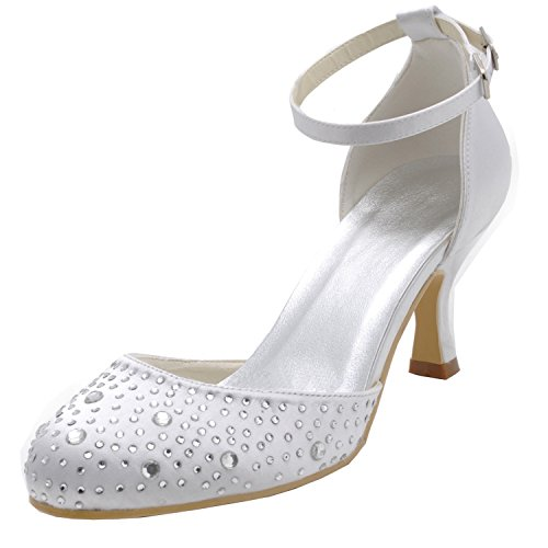Kevin Fashion gymz712Ladies brillo cristales satén zapatos de noche fiesta novia boda bombas sandalias flatfs blanco