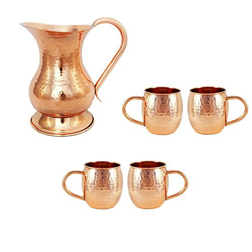 Copper Pitcher & Moscow Mule Mug Set of 4 Cups : Copper Set |Perfect Wedding Summer Gift by Alchemade (Moscow Mule Copper Pitcher)