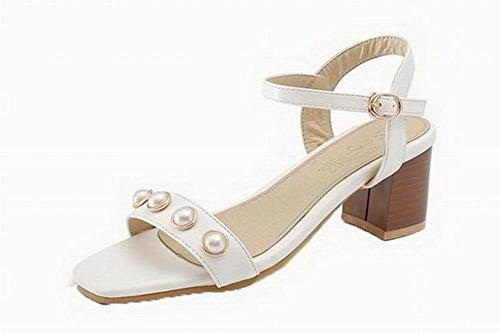 Heels Open Kitten Toe White Sandals Pu VogueZone009 Women Solid qOFWR