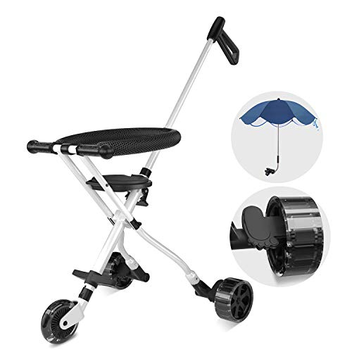Geling 2 Baby Stroller One Step Design for Open & Fold Travel Stroller for Airplane Lightweight Stroller For Travel, Airplane Tricycle for Toddler 1 Year-4 Years Old with Sunshade Umbrella (Step 2 Baby Stroller)