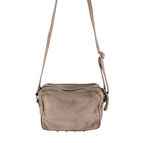 DUDU Borsa Donna Piccola a Tracolla regolabile in morbida Pelle lavata Vintage con borchie e Chiusura Zip Gray Stone