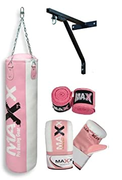 Maxx Pink Punchbag Set 12pcs Set Or With Bracket Or Hook Free Chain Sizes 5ft , 4ft And 3ft by Amazon