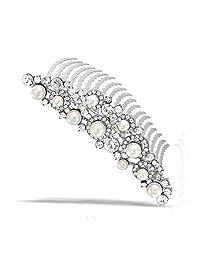Simulated Pearl Rhinestone Bridal Tiara Comb Rhodium Plated