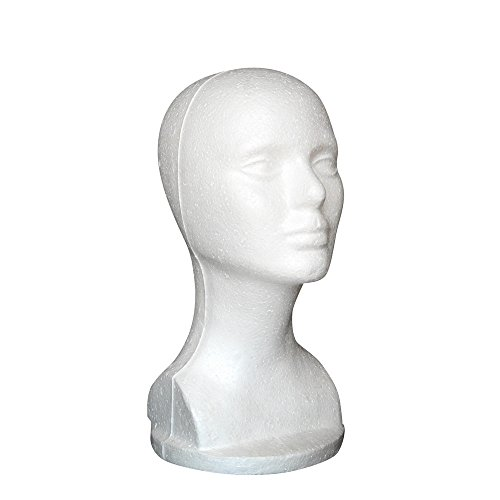 - XILALU Female Styrofoam Hat Glasses Hair Wig Mannequin Stand Display Head Model Chest Stand - White (One Size, White)