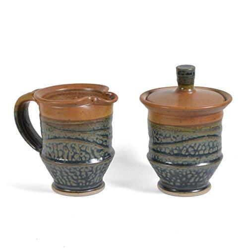 Royce Yoder Pottery Cream and Sugar Set, Tan/Ash