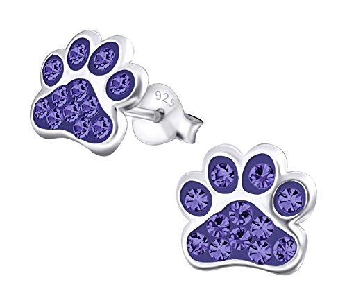 Best Wing Jewelry .925 Sterling Silver Paw Print/w Crystals Children's Stud Earrings (Purple) by Best Wing Children's Earrings (Image #1)