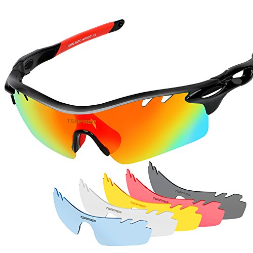 Polarized Sports Sunglasses with 6 Interchangeable Lenses, Tsafrer Tr90 Unbreakable Sunglasses for Men and Women Cycling, Driving, Running Golf - Sunglasses Lenses With Interchangeable