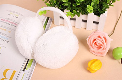JIAHAO Faux Fur Winter Fluffy Earmuff Earwarmer Ear Muffs Warmers Behind the Head Design Plush Ear Wraps Cover Earlap Earcap Earshield White