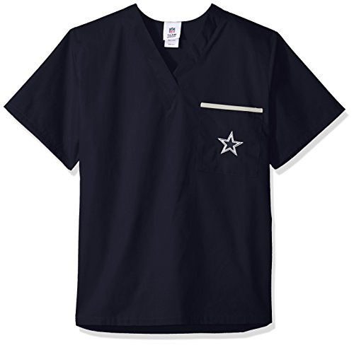 NFL Dallas Cowboys Scrub Dudz Solid Scrub Top, Small, - Dallas Sports Stores