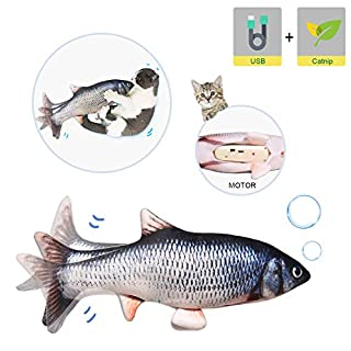 Potaroma Electric Moving Cat Kicker Fish Toy, Realistic Flopping Fish, Wiggle Fish Catnip Toys, Motion Kitten Toy, Plush Interactive Cat Toys, Fun Toy for Cat Exercise