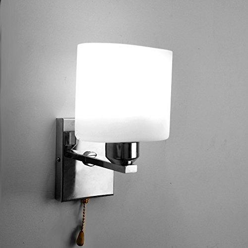 Elitlife E14 Glass LED Wall Lamp Light, Wall Sconce Lighting Fixture, 110-240v witn Pull line Switch & 40W Light Bulb,for Living Room Bedroom Bedside Lobby Hallway (Cool White)