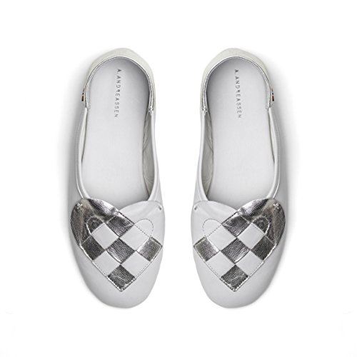 A. Andreassen Women's Italian Leather Elskling Slipper ''White Metallic Pearl'' (9 US 40 EU 41 IT) by A. Andreassen