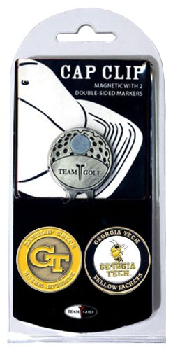Team Golf NCAA Georgia Tech Yellow Jackets Golf Cap Clip with 2 Removable Double-Sided Enamel Magnetic Ball Markers, Attaches Easily to Hats