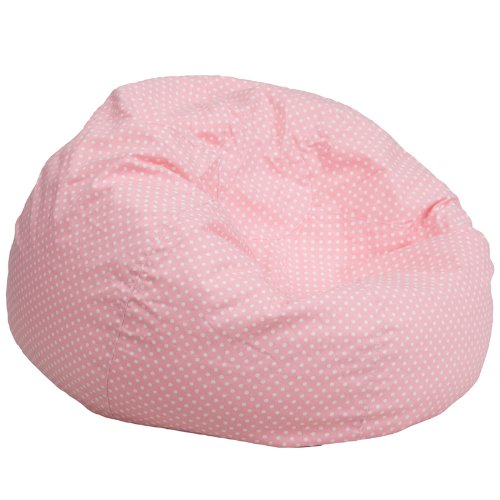 Flash Furniture Oversized Light Pink Dot Bean Bag Chair