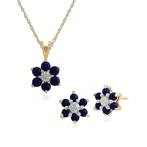 Gemondo Bague Lapis Lazuli or jaune 9ct & Diamant Floral Clous Ensemble Boucles d'oreille et collier 45cm