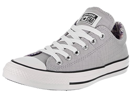 Converse Women's Madison Utility Chambray Low Top Sneaker, Wolf Grey/White/Black, 7 M US