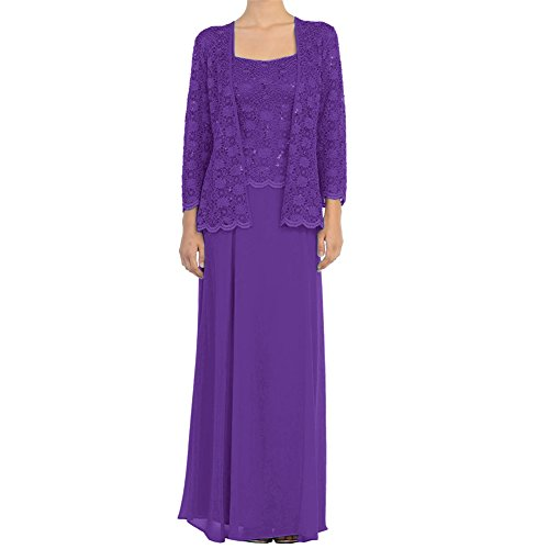 H.S.D Mother of The Bride Dress Chiffon Formal Gowns with Jacket Dark Purple