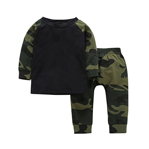 (YIJIUJIU Toddler 2 Piece Outfits Baby Boy Girls Camouflage Clothes Tops+ Army Designer Pants Set 12-18 Months)