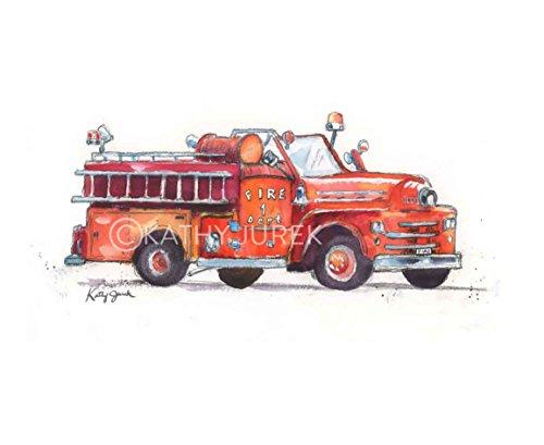 Fire Truck Wall Art Print / Fire Truck Wall Decor / Fire Truck Nursery Decor / Red Truck Print