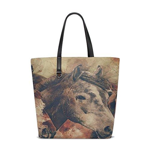 - Dnoving Women Horses Horse Head Animals Mammal Nature Equestrian Handle Satchel Handbags Shoulder Bag Tote Purse Messenger Bags