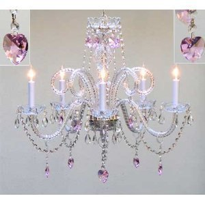 Chandelier chandeliers lighting with pink crystal hearts ceiling chandelier chandeliers lighting with pink crystal hearts ceiling light lamp hanging fixture 230v h 6350 cm mozeypictures Choice Image