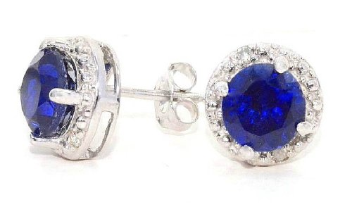 2 Ct Created Blue Sapphire & Diamond Round Stud Earrings 14Kt White Gold & Sterling Silver ()