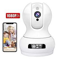QZT Telecamera IP 1080P HD, Telecamera Sorveglianza WiFi Interno, Casa Rete Videosorveglianza con Visione Notturna, Rilevazione Movimento, Audio Bidirezionale, App Alarm, Ethernet Video Sorveglianza
