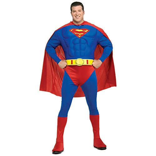 [Deluxe Muscle Chest Superman Costume - Plus Size - Chest Size 46-50] (Plus Size Deluxe Superman Costumes)