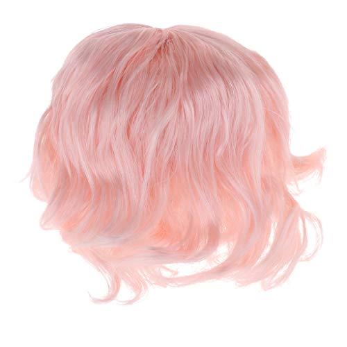 B Blesiya BJDドールウィッグ ニート前髪 ヘアピース カーリーかつら 1/6 BJD SDドール アクセサリー 2色選ぶ - ライトピンク