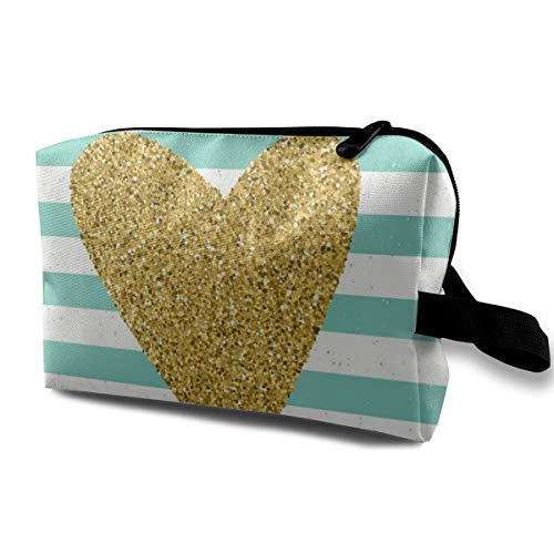 Trendy Hearts Color On Striped Background Cosmetic Bags Small Makeup Clutch Pouch Cosmetic and Toiletries Organizer Bag Women Makeup Travel Storage 10 X 6.3 X 5 Inch ()