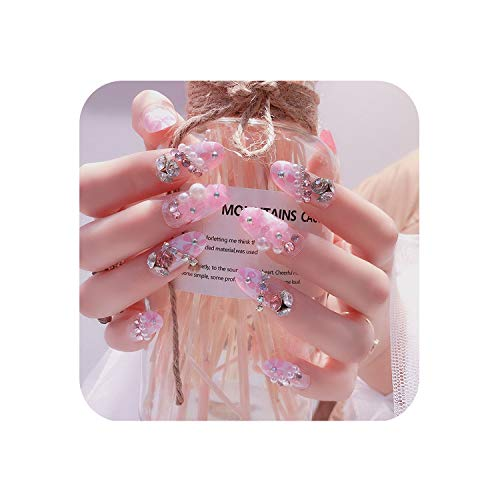 (False Nails 24Pcs/Set Design 3D Flower Crystals Manicure Nails Tips Wedding Fake Nail Decal Glitter Bride Nail #)