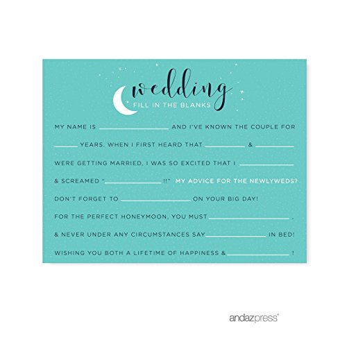 Andaz Press Love You to the Moon and Back Wedding Collection, Wedding Reception Fill in the Blanks Game Cards, (Wedding Reception Games)