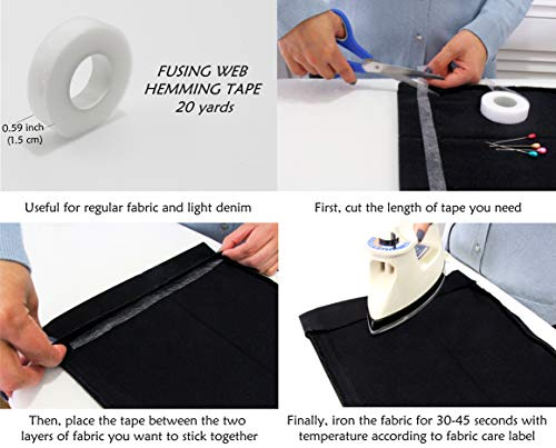No Stitch Repair Kit, a No-Sew Kit with Fusible Web Hemming Tape, Cotton and Jean Iron On Patches, Collar Extenders for Shirts, Waist Extenders for Pants, and Sewing Pins to Fix Garments Fast and Easy