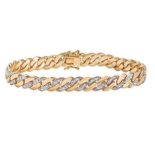 Palm Beach Jewelry Men's 18K Yellow Gold Plated Genuine Diamond Accent Curb Link Bracelet (9mm), Box Clasp, 9.5 inches (Bracelet For Gold Diamonds Man)